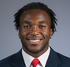 A close up of Stanford football player Bryce Love