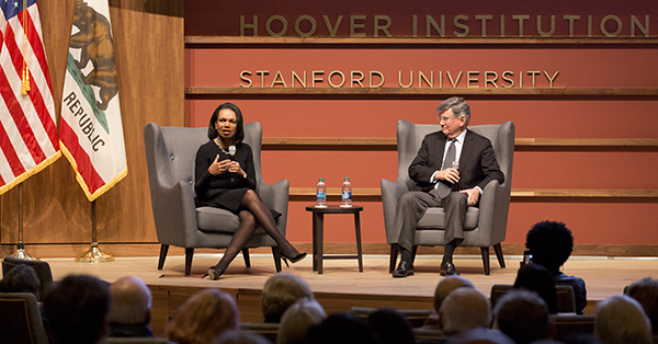 "Stanford faculty members Condoleezza Rice and David Kennedy recently discussed the upcoming PBS documentary ""American Creed"" with members of the campus community. (Photo by Patrick Beaudouin)"