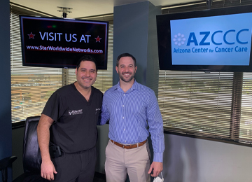 AZCCC Radiation Oncologist Justin Famoso teams up with  ENT (Ear, Nose and Throat) specialist  Dr. Luis Vazquez from Elite ENT in Phoenix.
