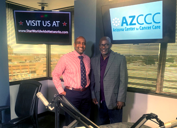 Virginia G. Piper Cancer Care Network and AZCCC Medical Oncologist Dr. Clarence Adoo welcome colon and rectal surgeon Dr. Tafadzwa Makarawo from the Colon and Rectal Center of Arizona.