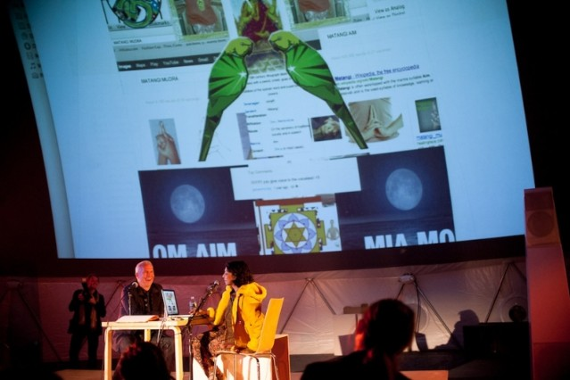 M.I.A. and her 'Matangi' image at MoMA / Photo by Ryan Muir
