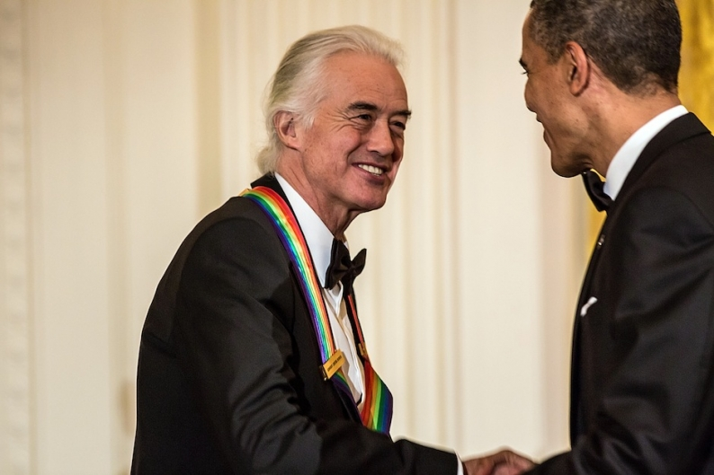 Led Zeppelin's Jimmy Page meets President Barack Obama