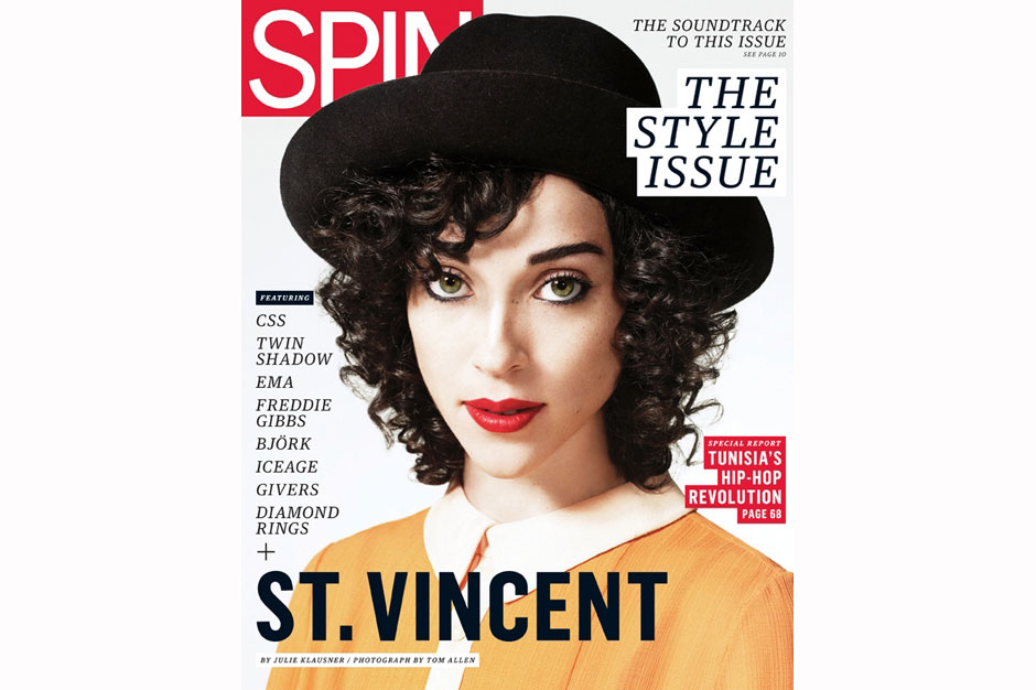 Annie Clark, shot for SPIN's September 2011 cover by Tom Allen.  Styling by Heathermary Jackson.