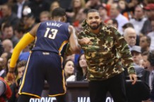 Drake at Indiana Pacers v Toronto Raptors - Game One
