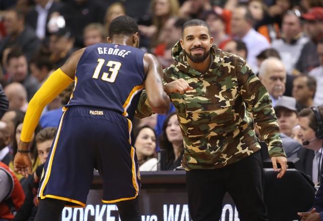 Drake at Indiana Pacers v Toronto Raptors - Game One