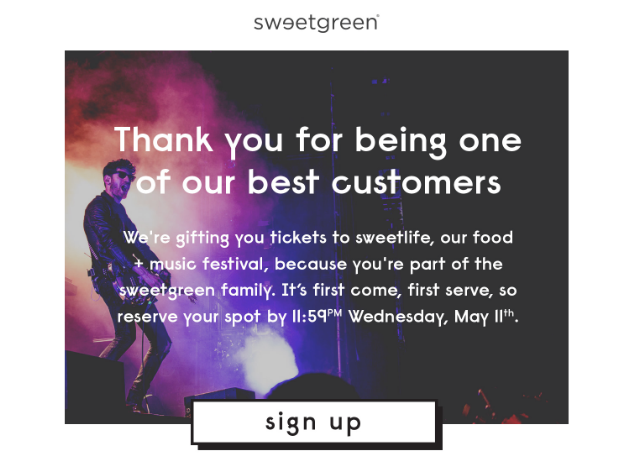 free tickets to sweetlife email