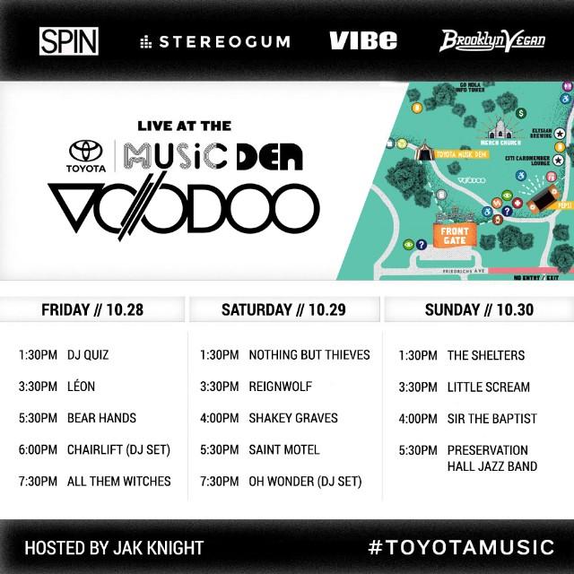 Voodoo-Toyota Music Den Schedule