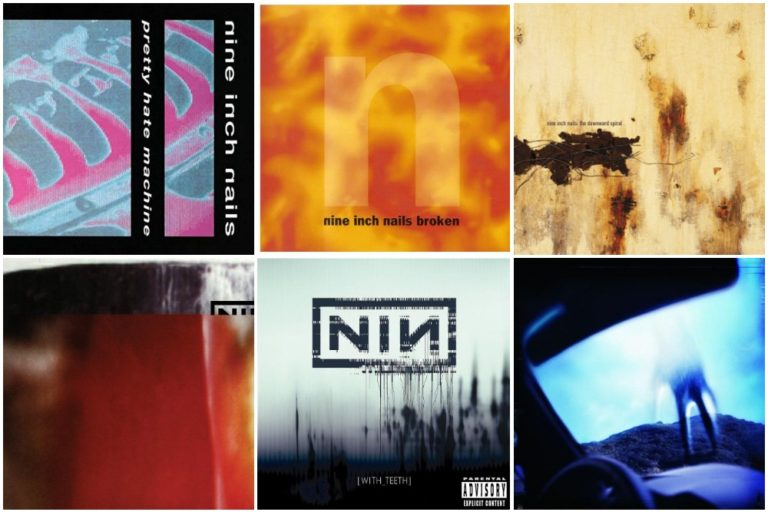 Nine Inch Nails albums Pretty Hate Machine, Broken, Downward Spiral, The Fragile, With Teeth, Year Zero
