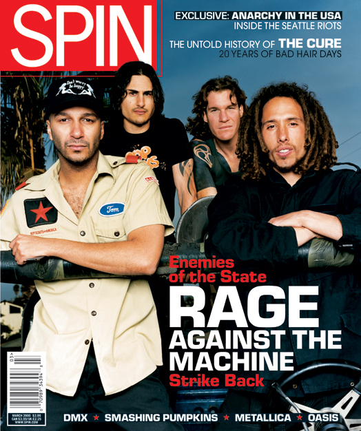 Rage Against the Machine on the cover of SPIN March 2000