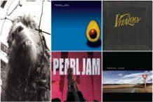 Pearl Jam album covers: Vs, Ten, Vitalogy, Yield, and Pearl Jam