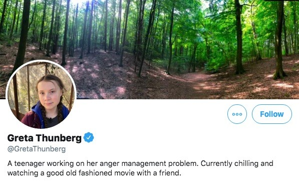Greta Thunberg's Twitter bio on December 12, 2019