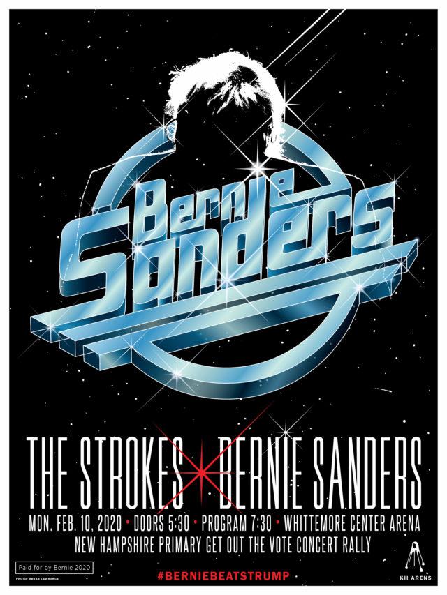 The Strokes concert for Bernie Sanders poster