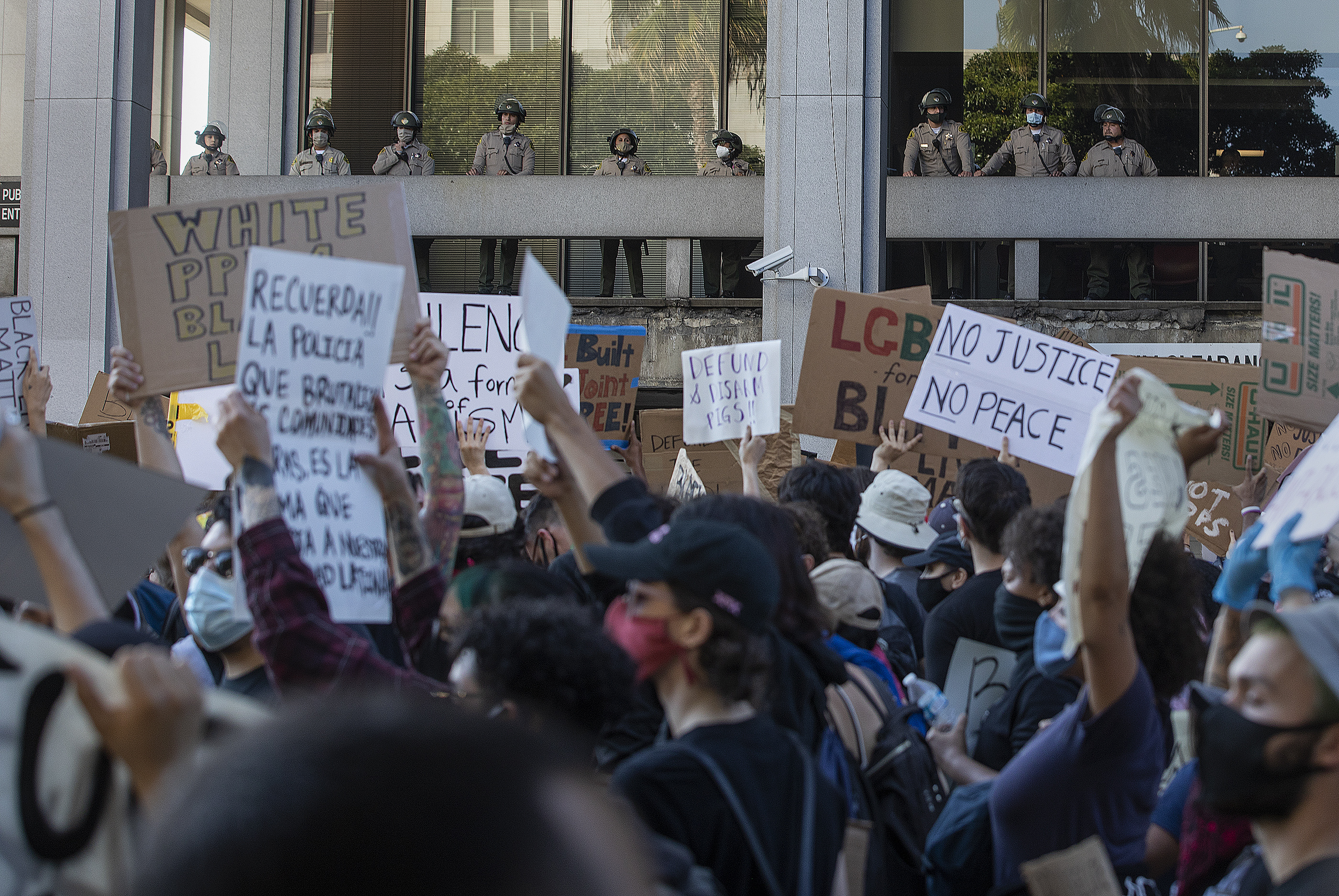 protest in downtown Los Angeles seeking justice for George Floyd