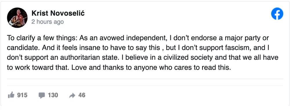 Krist Novoselic Response on Facebook June 2020