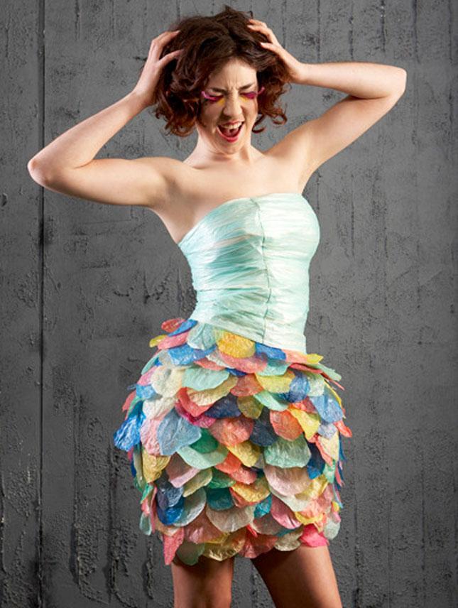 Plastic bag dresses congratulate, this