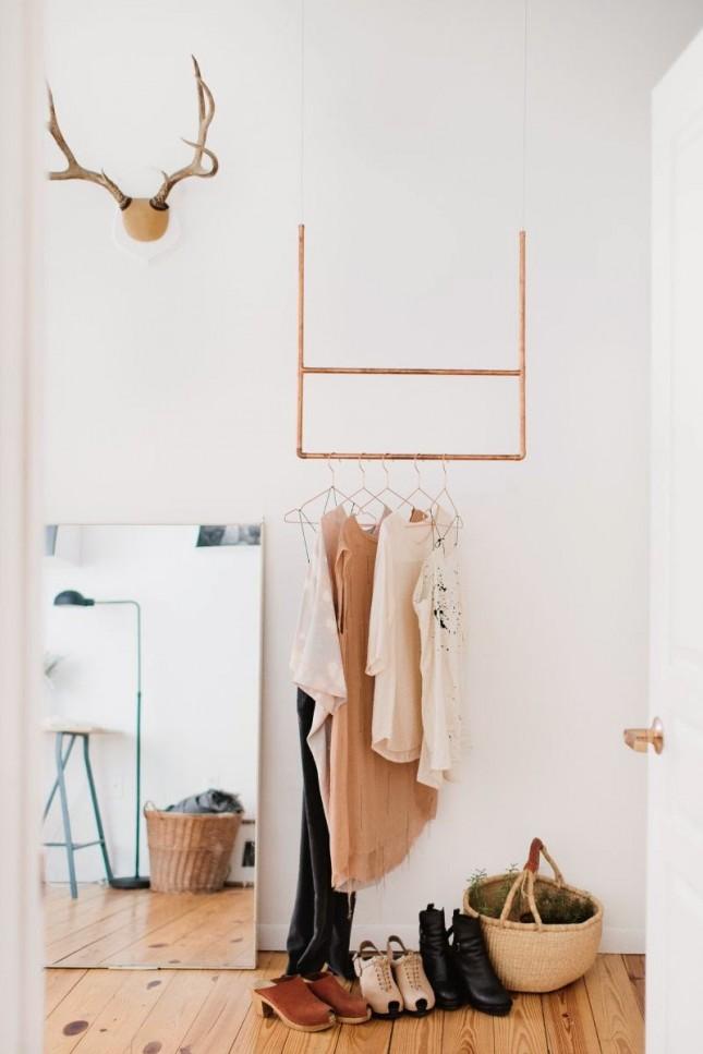 small space solution 15 diy garment racks brit co. Black Bedroom Furniture Sets. Home Design Ideas