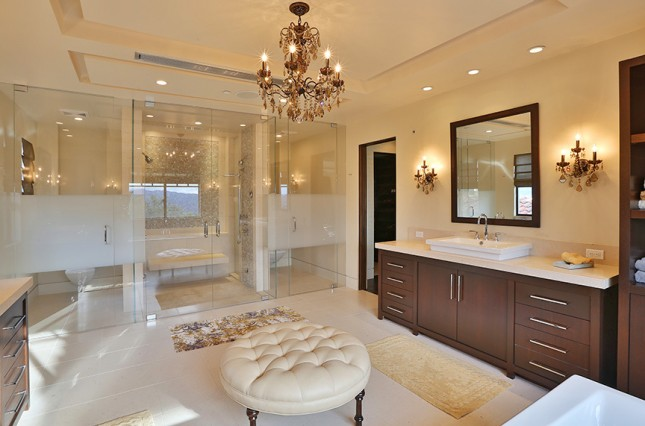 we re swooning over these 10 luxe celebrity bathrooms brit co. Black Bedroom Furniture Sets. Home Design Ideas