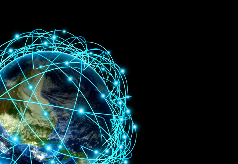 Internet Concept of global business and major air routes based on real data. Highly detailed planet Earth at night, surrounded by a luminous network, 3d render.