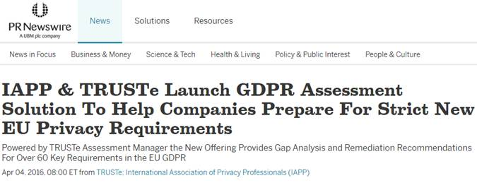 IAPP GDPR Readiness Assessment Article