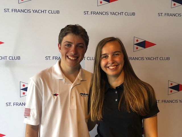Jack Sutter & Charlotte Versavel Podium at 2019 US Youth Sailing Championships