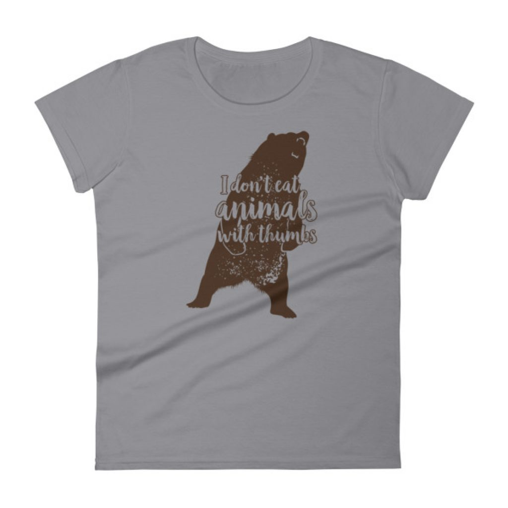 I Don't Eat Animals With Thumbs Mad Bear Women's short sleeve t-shirt