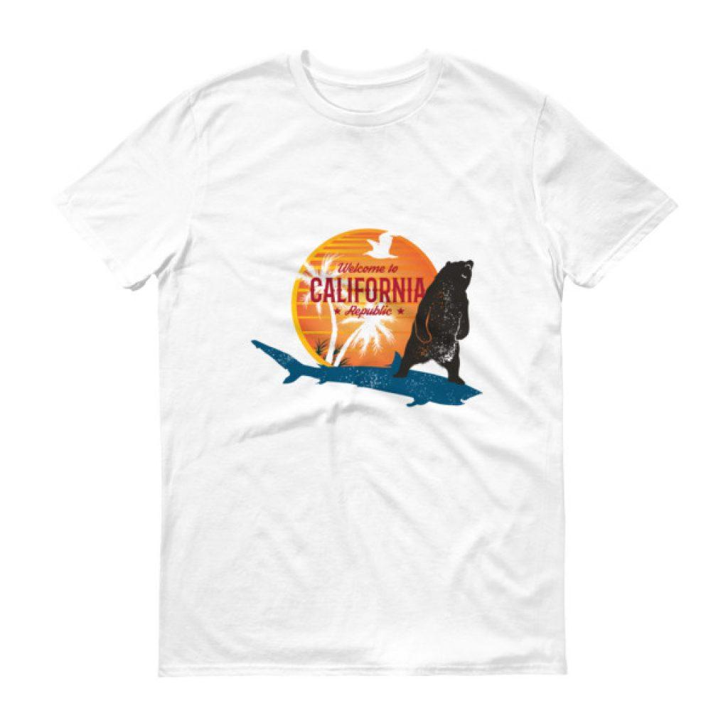 California Surfer Bear Shark Short sleeve t-shirt