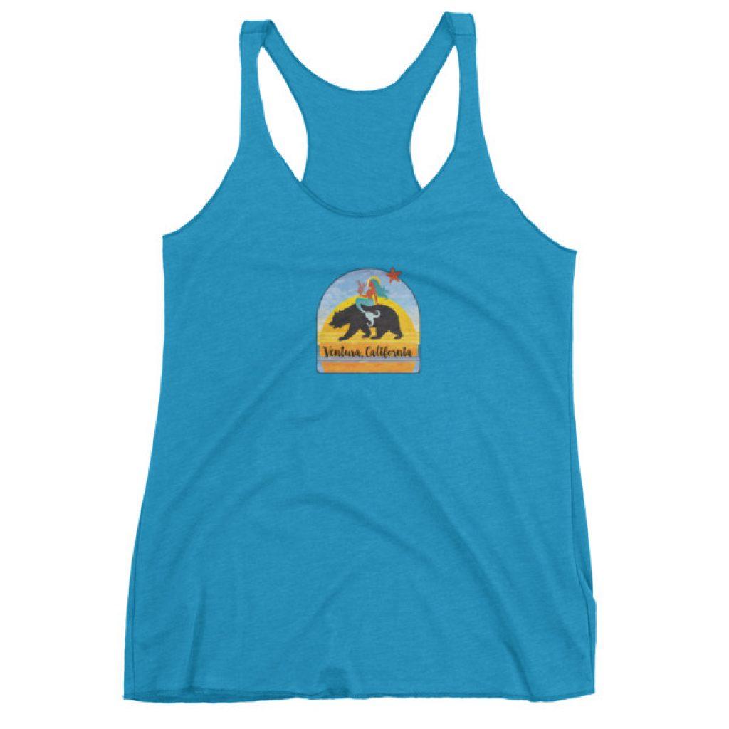 Colorful Ventura CA Mermaid on Bear Women's tank top