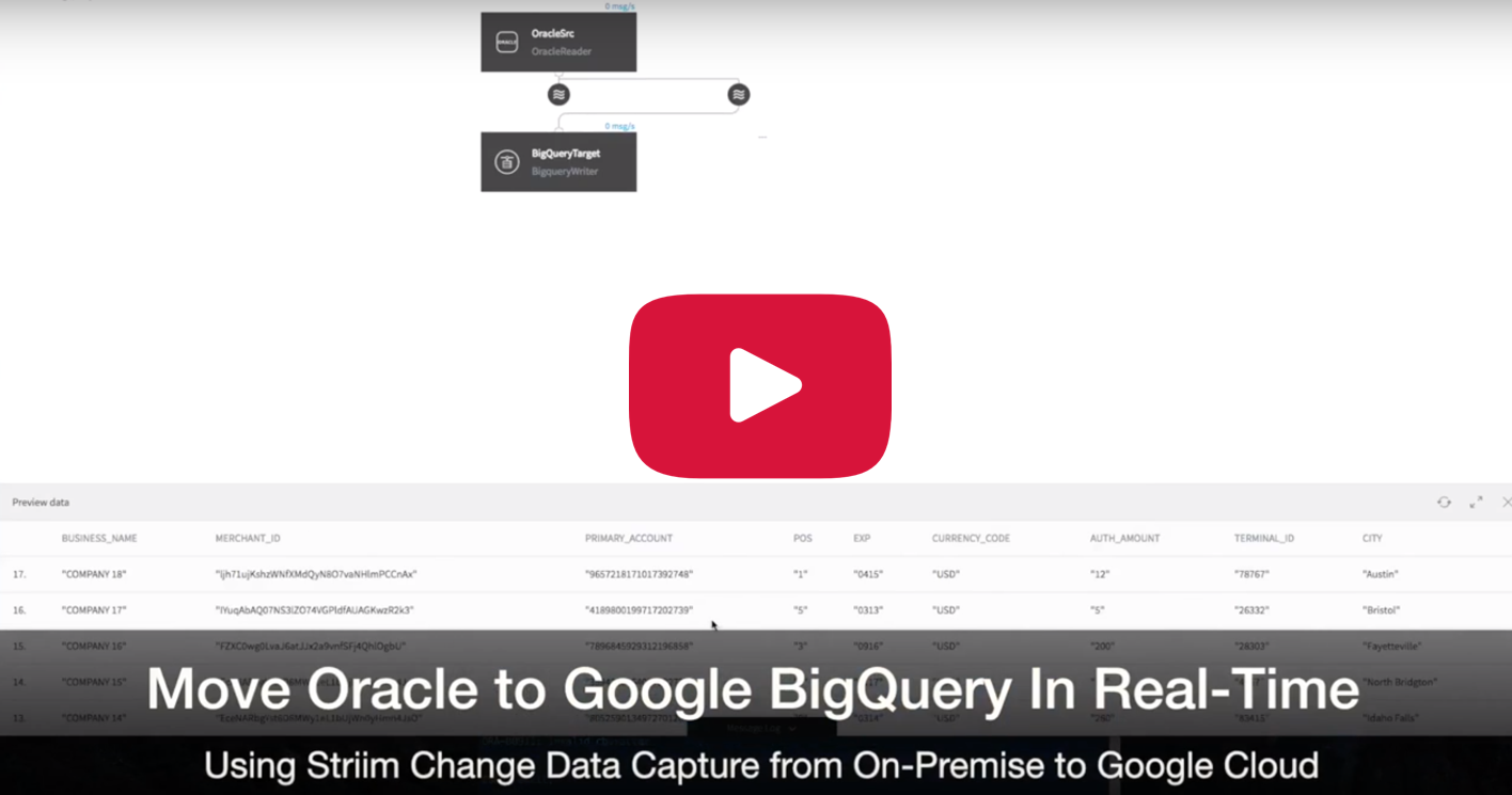 Oracle to Google BigQuery - Continuous Movement of On-Premises Data