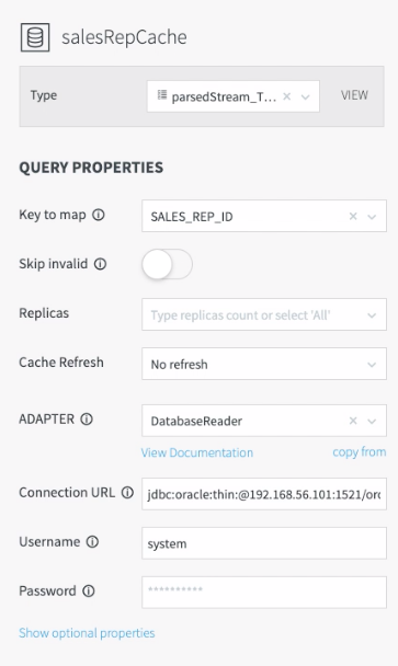 Configuring Database Properties for the Sales Rep Cache