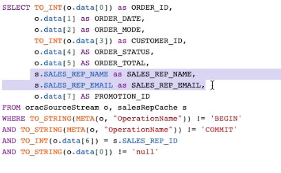 Full Transformation and Enrichment Query Joining the CDC Stream with Cache Data