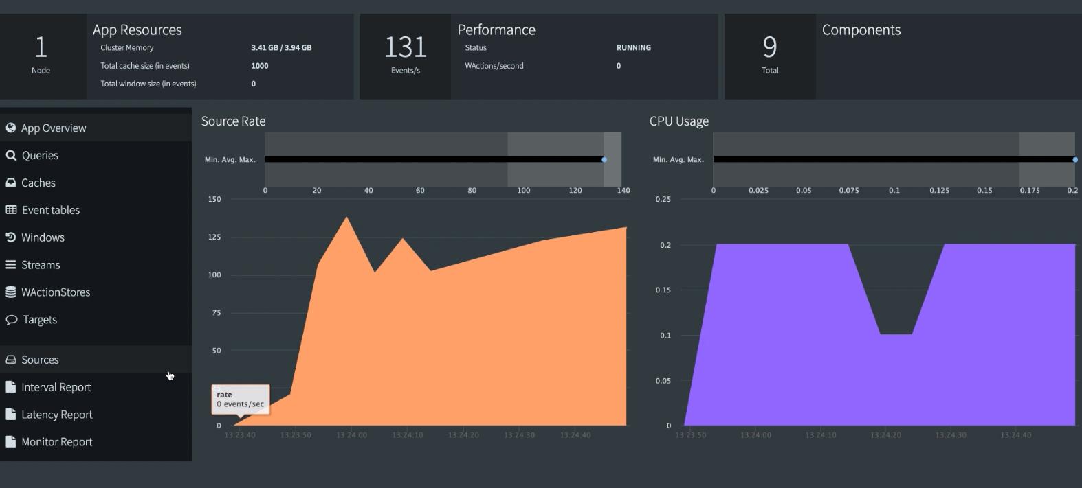 Striim Monitoring Web UI Monitor App Page
