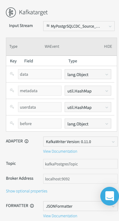 Configuring the Kafka target formatter