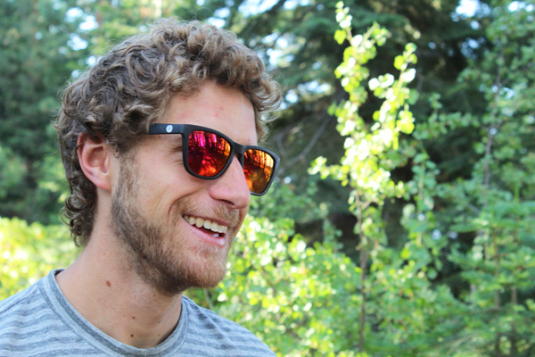 Ethan in the woods with Sunskis