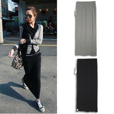 Black Casual Comfortable Cotton MINIMALIST Long Maxi Skirt