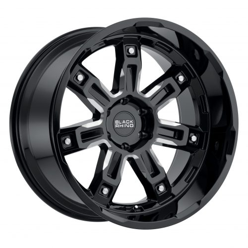 BLACK RHINO LOCKER 22X11.5 6/139.7 ET-44 CB112.1 GLOSS BLACK W/MILLED SPOKES