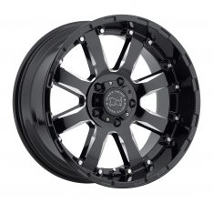 BLACK RHINO SIERRA 20x10.0 5/150 ET00 CB110.1 GLOSS BLACK W/MILLED SPOKES