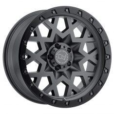BLACK RHINO SPROCKET 20x9.5 5/150 ET12 CB110.1 MATTE GUNMETAL W/BLACK LIP EDGE (GUNMETAL BOLTS)