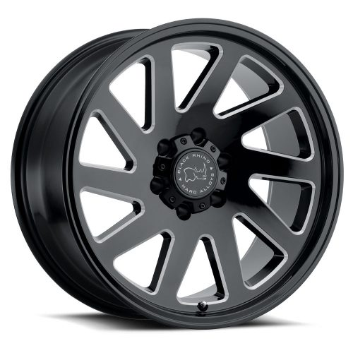 BLACK RHINO THRUST 22×12.0 6/139.7 ET-44 CB112.1 GLOSS BLACK W/MILLED SPOKES SPOKES