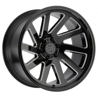 BLACK RHINO THRUST 22×12.0 8/180 ET-44 CB125.1 GLOSS BLACK W/MILLED SPOKES