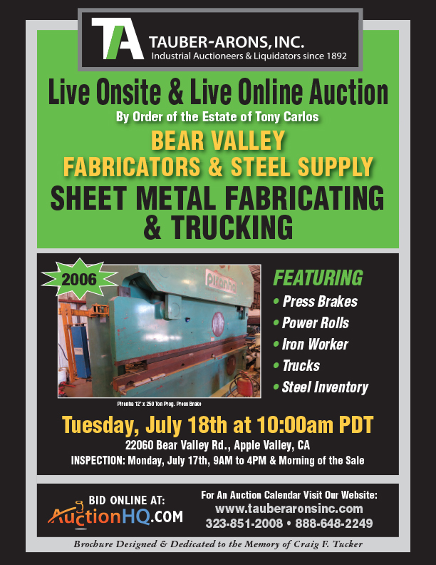 Past Auctions | Tauber-Arons | Industrial Auctioneers