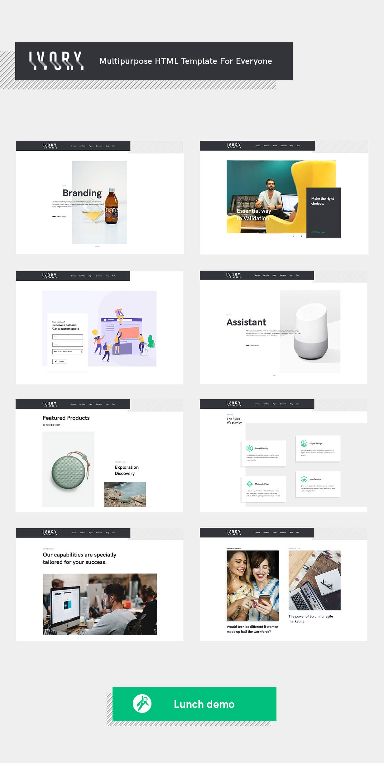 Ivory HTML5 template Demos