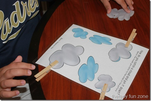 cloud clothespin match: cloud games including a book, clothespin game, writing, and craft.