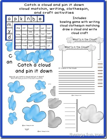 catch a cloud: cloud games including a book, clothespin game, writing, and craft.