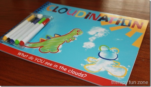 cloud games including a book, clothespin game, writing, and craft.