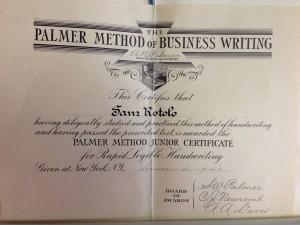 Palmer Writing Certificate