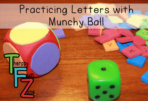 practicing letters with munchy ball
