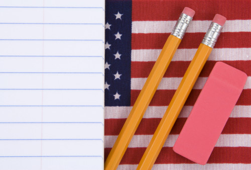 erasers and flag