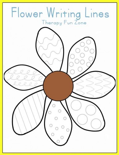 therapy fun zone - practice writing and cutting with flower petals