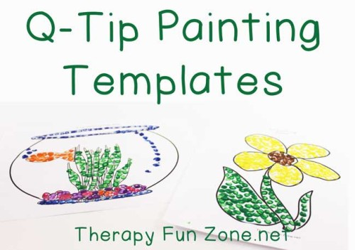 q-tip painting templates for fine motor control
