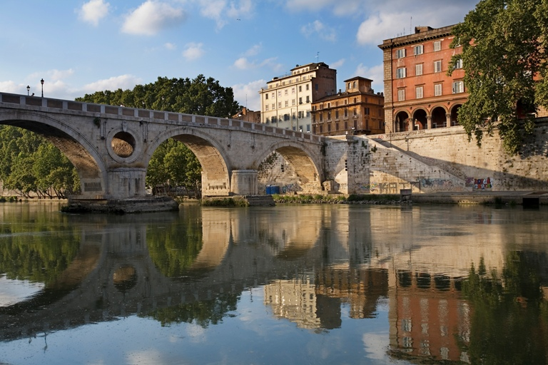 A bridge on the Tevere Tiber River Rome, Italy